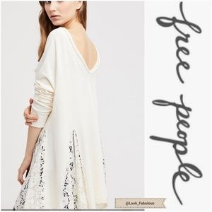 NWT FREE PEOPLE CREAM LACE VNECK NO FRILLS SWEATER